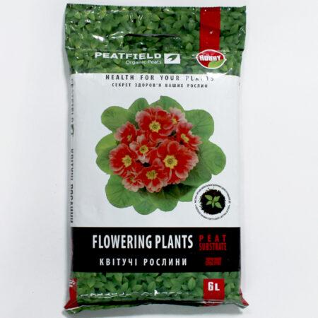 Субстрат торфяной PEATFIELD для цветущих растений подходит для выращивания комнатных, балконных и террасных цветущих растений.