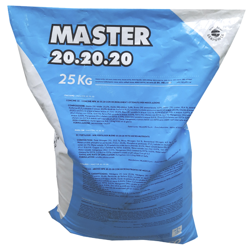 Удобрение Мастер (Master) 20.20.20 - это удобрение, содержащее необходимые питательные элементы для растений, с макро- и микроэлементами.