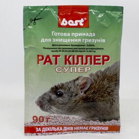 """Родентицидний засіб """"Рат Кіллер Супер"""" призначений для використання фахівцями дизенфікційної служби та в побуту з метою знищення щурів та мишей."""
